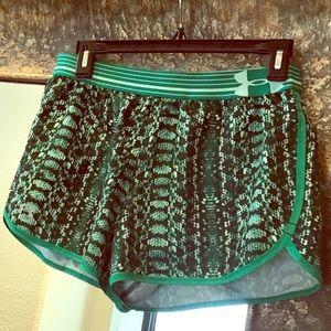 Under Armour green snakeskin print run shorts sz S